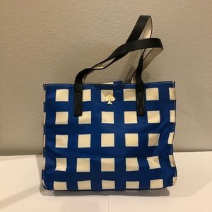 Kate Spade Blue and White Grid Tote